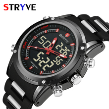 Top Men Watches Luxury Brand Stryve Quartz LED Dual Time Clock Sports Waterproof Men Army Military Wrist Watch Relogio Masculino luxury brand cadisen men watch quartz watches big design dual time zone casual military waterproof wristwatch relogio masculino