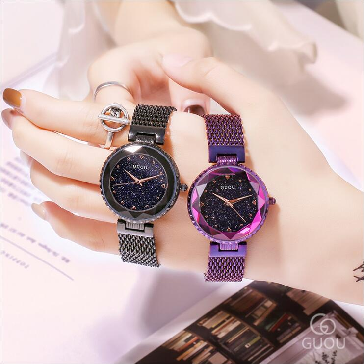 GUOU Watch Fashion Modern Starry Sky dial Watches Women Elegant Stainless steel Ladies Watch saat relojes mujer relogio femininoGUOU Watch Fashion Modern Starry Sky dial Watches Women Elegant Stainless steel Ladies Watch saat relojes mujer relogio feminino