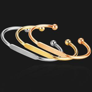 Image 5 - MYLONGINGCHARM 50 ピース/ロットブランクカフ腕輪彫刻銅ブレスレット Rosegold ゴールドブレスレット T0692