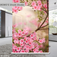 MOMO Blackout Floral Window Curtains Roller Shades Blinds Thermal Insulated Fabric Custom Size, Alice 402