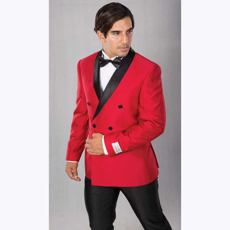 Custom Made Red With Black Men Suits 2 Pieces Double Breasted Latest Coat Pant Groom Wedding Suits Tuxedos Terno Masculino
