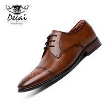 DESAI 2019 Mens Brogue Shoes Three Joint Genuine Leather Business Dress Shoe Gentleman Retro Formal Wedding for Best Man