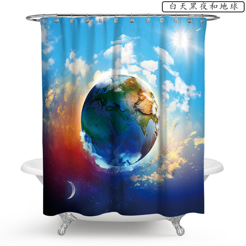 Fantasy Bath Shower Curtain Universe and Planet Waterproof Decor for Bathroom