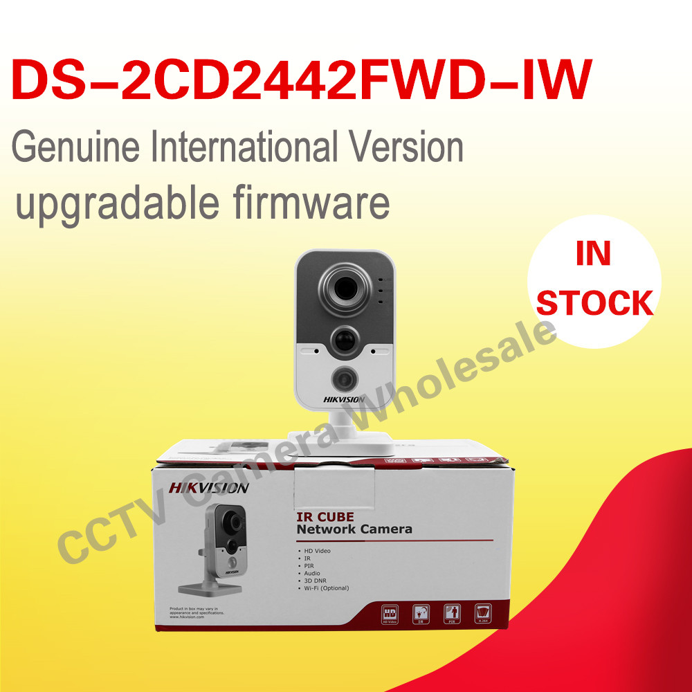 Free shipping DS-2CD2442FWD-IW English version 4MP IR Cube Network CCTV security Camera mini wifi ip camera POE 10m IR dhl free shipping english version ds 7108ni e1 v w embedded mini wifi nvr poe 8ch for up to 6mp network ip camera
