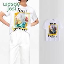 2019 new summer t-shirt women england style print picture floral regular cotton t shirt women tops plus size цена