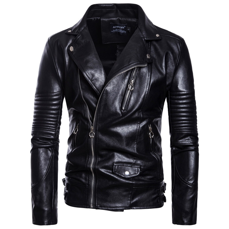 M 5XL Men top black color casual leather clothes zipper and belt decorate autumn and winter