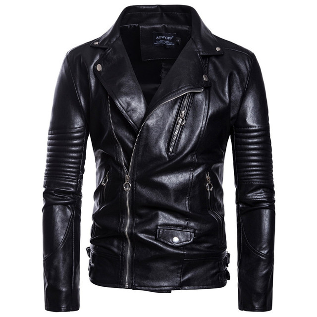 6948d4fc3 US $36.63 34% OFF 2018 Autumn Men's Motorcycle Leather Jacket Fashion  Street Style PU Leather Jacket Coat For Male Black Slim Clothing M 5XL-in  ...