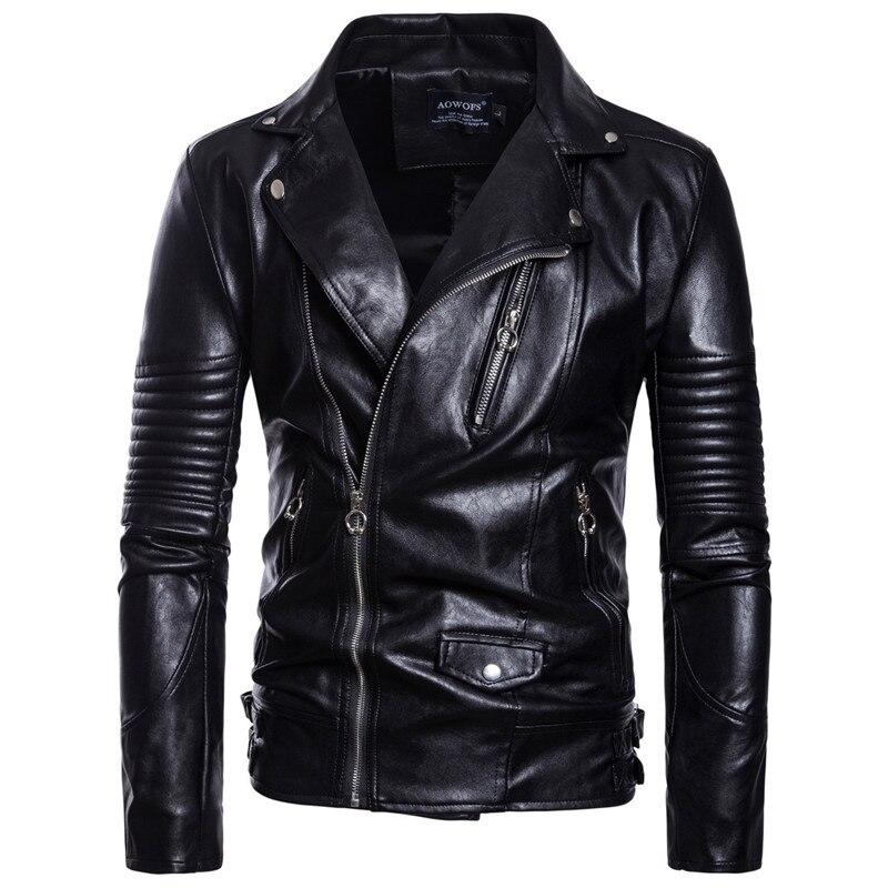 2018 automne hommes moto en cuir veste de mode Style de rue PU en cuir veste manteau pour homme noir mince vêtements M-5XL