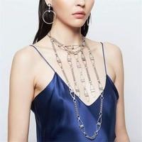 Einzigartiges Design Mode Silber-legierung Kette Quaste Fringe Lange Halskette Kristall Kreuz Tropfen Für Frauen Set Schmuck Zubehör