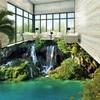 Free Shipping Custom Beautiful Romantic Green Plant Mountain Waterfall 3d Stereo Balcony Bathroom Floor Stickers Wallpaper