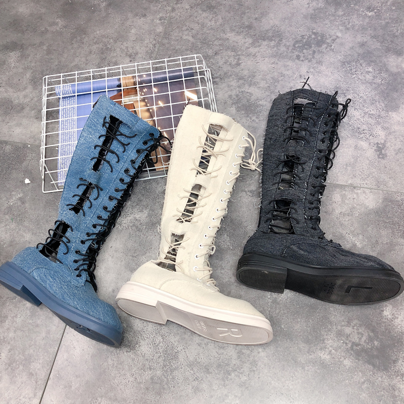 Spring and Autumn 2019 fashion denim lace high tube Martin boots hip-hop hollow breathable womens net boots.Spring and Autumn 2019 fashion denim lace high tube Martin boots hip-hop hollow breathable womens net boots.