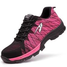 موضة الصيف النساء الصلب تو ثقب واقية للجنسين السلامة أحذية عمل غير رسمية في الهواء الطلق أحذية رياضية تنفس شبكة