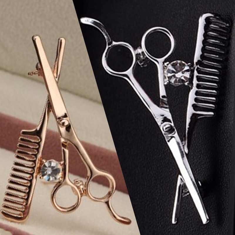 Kreatif Sisir Gunting Pemangkas Rambut Alat Korsase Bros Pin Fashion Pria Gaya Gunting Lencana Bros Wanita Trendi Perhiasan Hadiah