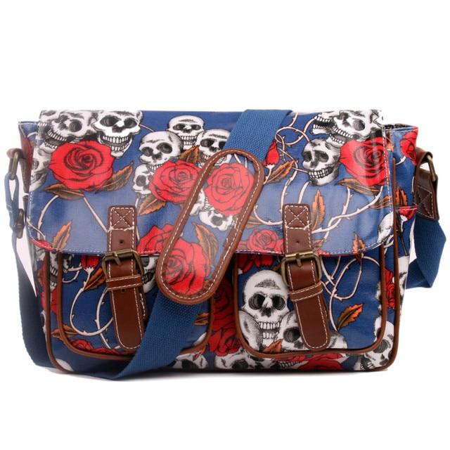 nuovo arrivo 813d9 727fc US $26.99 |2016 moda donna borsa a tracolla colorata borse a tracolla borse  a tracolla per le donne Teste Del Cranio sacchetto di scuola TELA CERATA ...