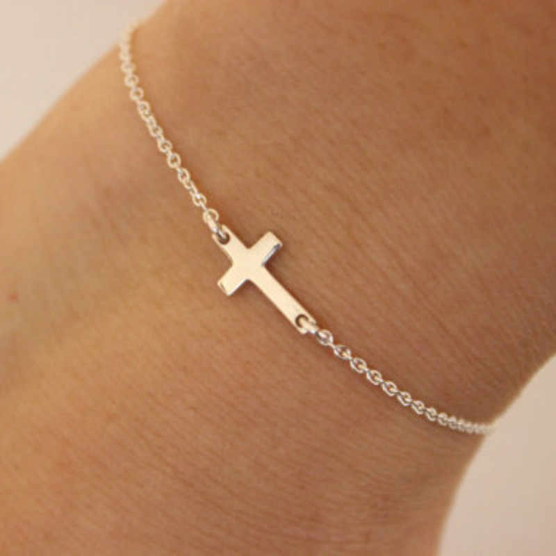 2019 Gold Silver Chain Love Jesus Bracelets For Women Charm Cruz Bracelet Femme pulseira feminina pulseras Simple Jewelry Bijoux
