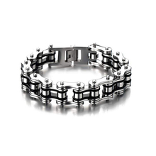 Mens Punk Bike Chain Bracelet Stainless Steel Silver Black Two-tone High Polished 16mm Width two tone cut out chain bag