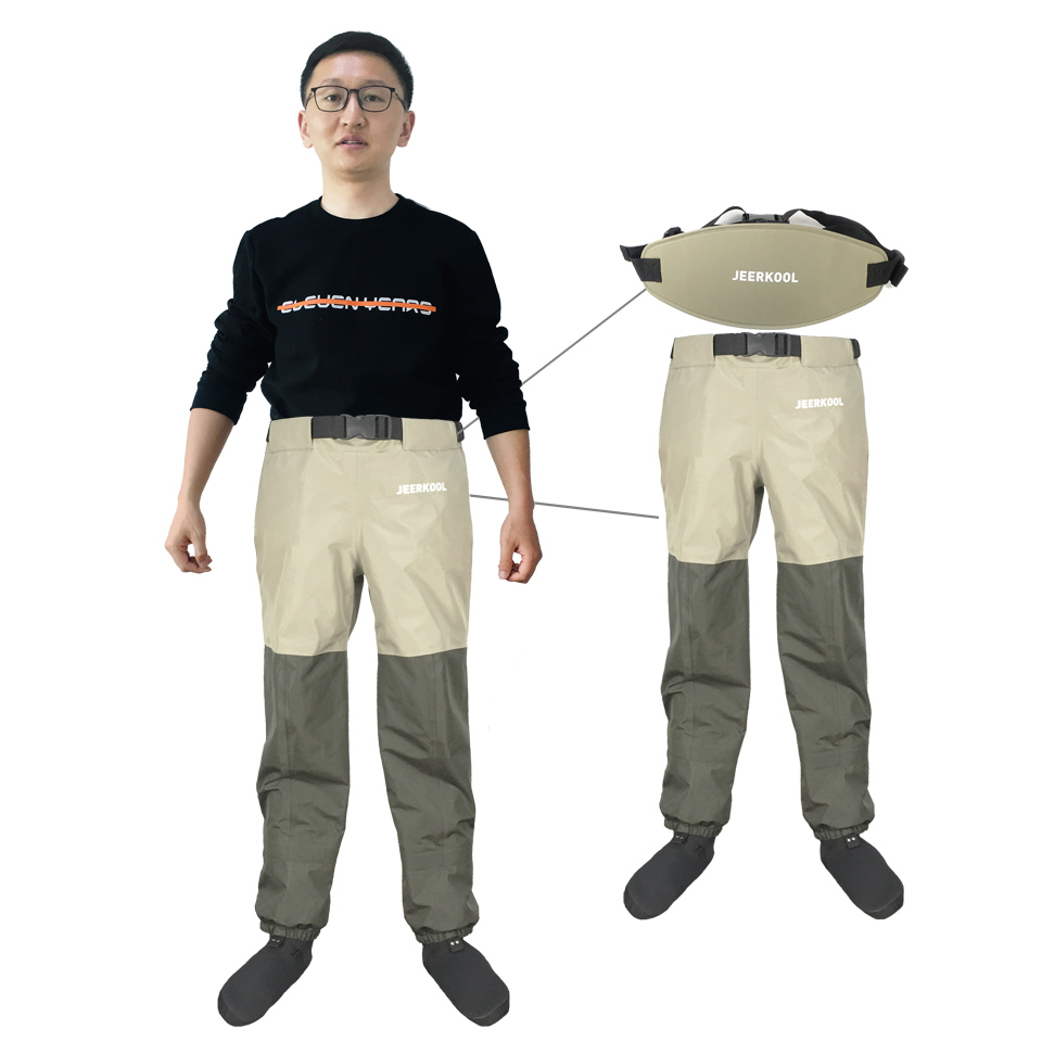 Outdoor Fly Fishing Waders Waist Pants with Waistband Waterproof Breathable Chest Hunting Wading Pants Belt Clothes For Shoe in Fishing Waders from Sports Entertainment