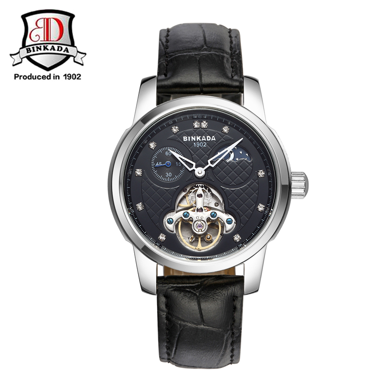 2017 Luxury BINKADA Mens Automatic Mechanical Sports Watch Date Tourbillon Leather Band Small Dial Wrist Watch Clocks relojes