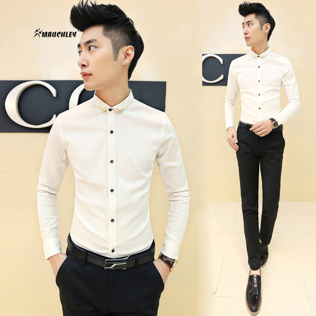 2017 Fashion Solid Color Black White Men Dress Shirt Long Sleeve