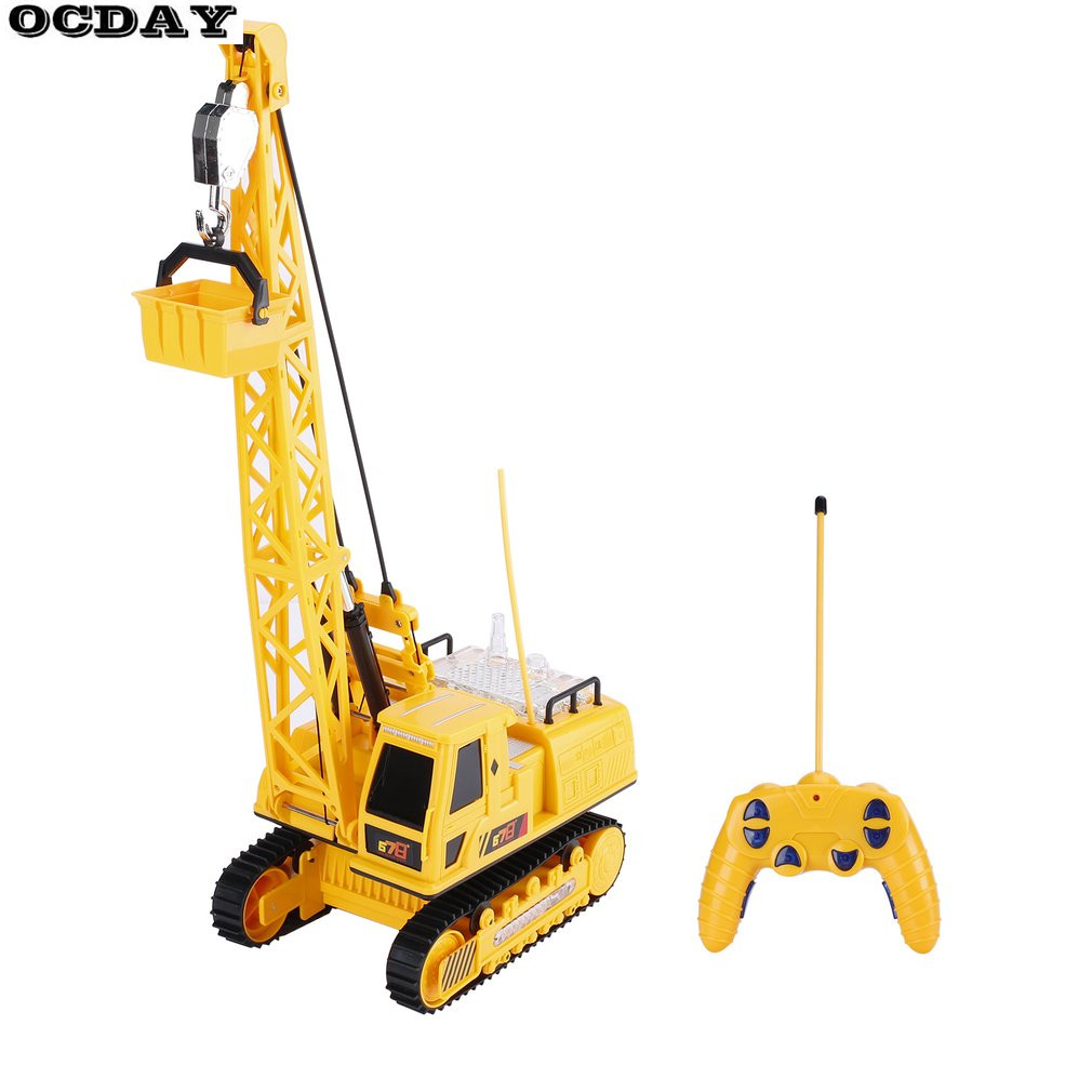 OCDAY RC Car Excavator Crawler Digger Music Light Wireless Remote Control Crane Model Electric Engineering Vehicle Toy For Kids