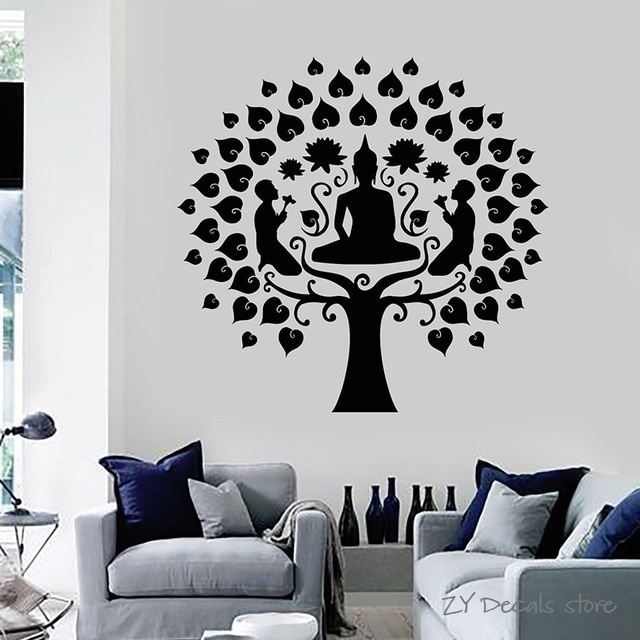 buddha tree wall decals buddhism lotus meditation wall stickers yoga