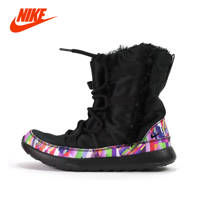 Original Authentic NIKE ROSHE ONE HI SE Baby Kids Winter Snow Boots Girls Flower Black Fashion Casual Sport Sneakers Boots