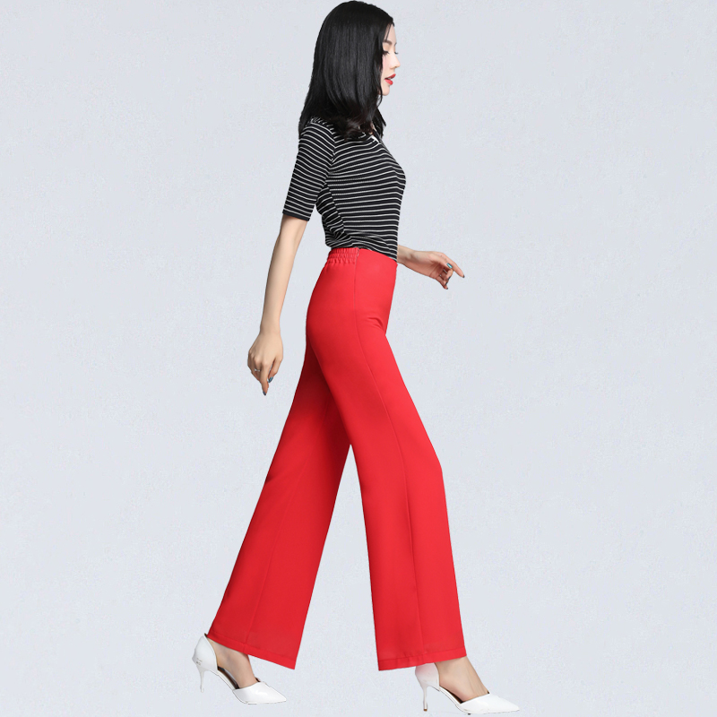 Plus Size S-4XL Elegant Spring Summer   Wide     Leg     Pants   Women High Waist Chiffon   Pants   Loose Casual Long Trousers Office Side Split