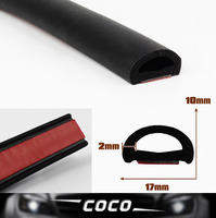 Flat D Shape Pillar 17mm BLACK Lock Camper Edge Trim Seal Strip Rubber Car Truck Noise