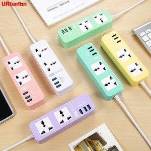 Image 1 - Regleta electrónica inteligente para el hogar con 3 USB de carga rápida, enchufe Universal, extensión de enchufe, enchufe con adaptador EU UK AU