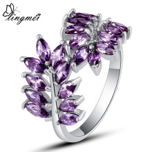 lingmei Maple Leaf Design Marquise Purple Purple Unisex Jewelry Silver Ring Size 6 7 8 9 10 New Gift Free Shipping Wholesale