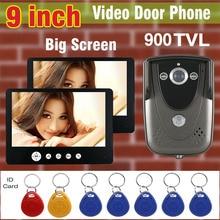 Video Intercom DoorBell System 9 inch Big Screen 900TVL HD Camera Video Door Phone IR Night