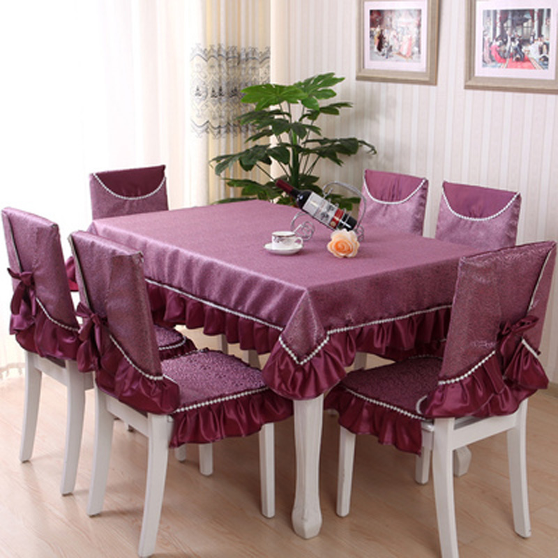 Dining Room Table Chair Covers: Table Cloth China Fuchsia Color Flannelette Lace Table