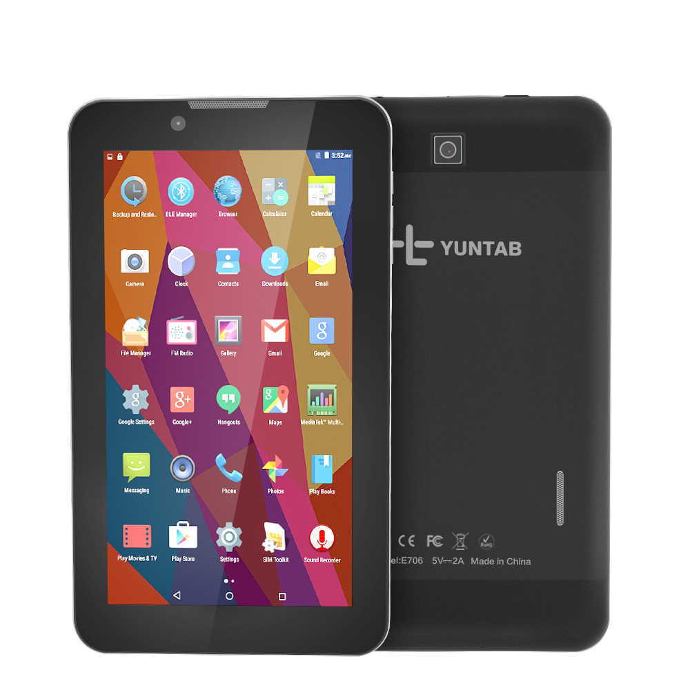 YUNTAB 7'' E706 alloy Tablet PC Quad Core 1024x600 Resolution Google Android 5.1 Dual Camera 1GB 8GB Support Sim Card
