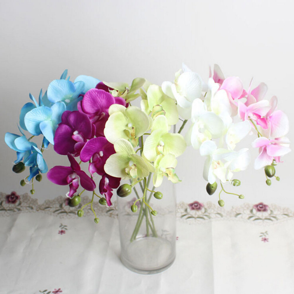 1pc Fake Phalaenopsis Artificial Orchid Flower 6 Colors For Wedding