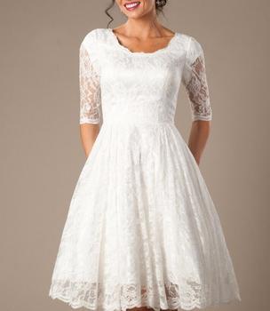 Vestido de novia de marfil de Encaje Vintage, vestidos cortos de novia Modest con media manga hasta la rodilla, recepción Informal, Vestido de boda