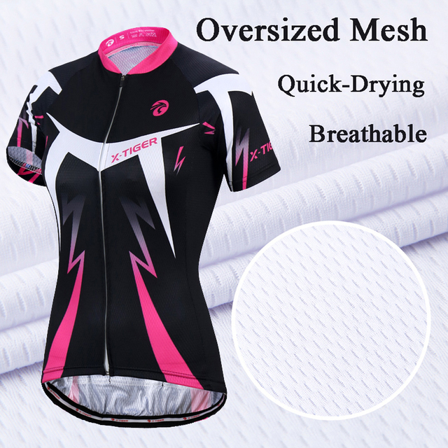 X-Tiger Dalila Short Sleeve Summer Women MTB Bike Clothing Breathable Bicycle Clothes Ropa Ciclismo Girls UV Cycling Jersey