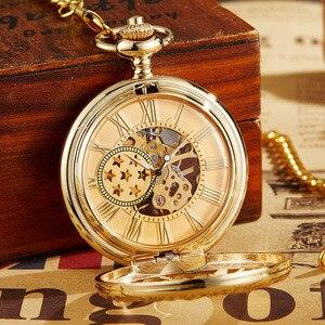 Image 2 - Ретро полые механические карманные часы с цепочкой FOB, золотые звезды, Скелетон, винтажные мужские и женские карманные часы с ручным намоткой