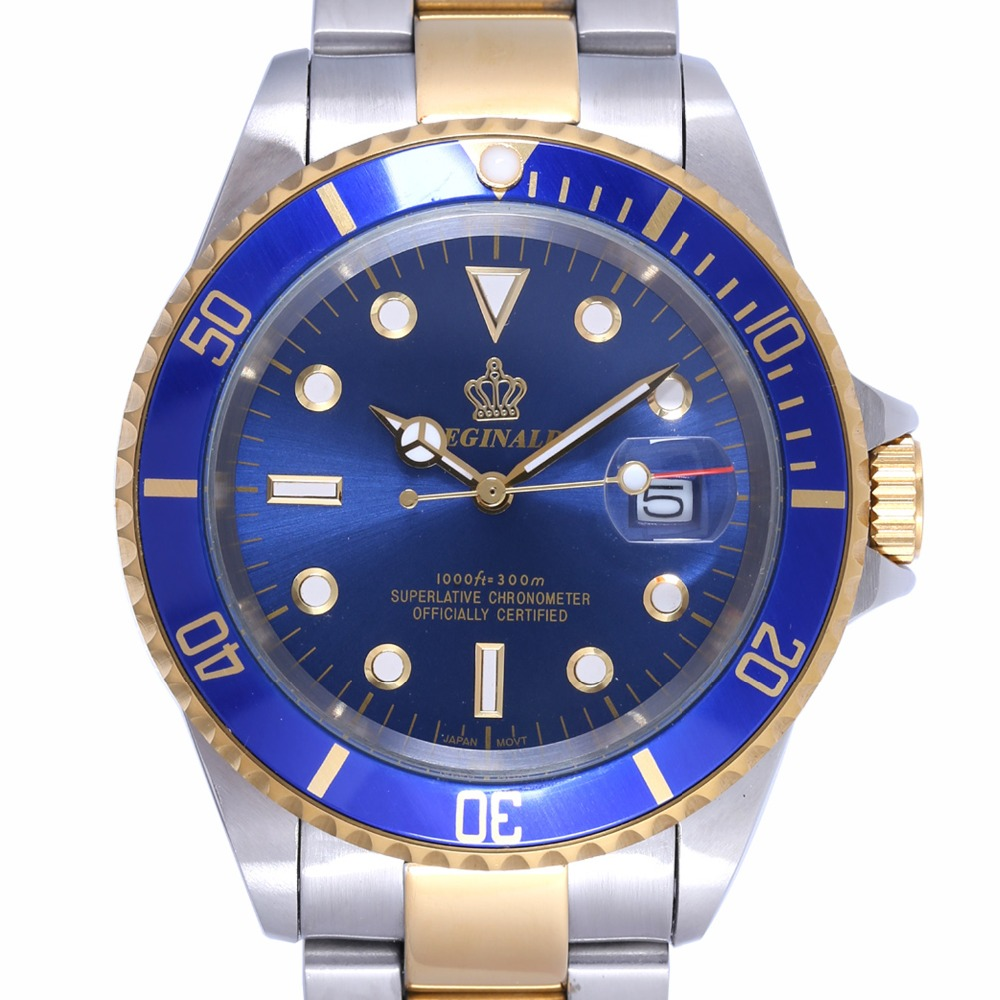 Luxury Reginald Watch Men Rotatable Bezel GMT Sapphire Date gold Stainless Steel Sport blue dial Quartz Watch Reloj Hombre luxury reginald watch men rotatable bezel gmt sapphire date gold stainless steel sport blue dial quartz watch reloj hombre