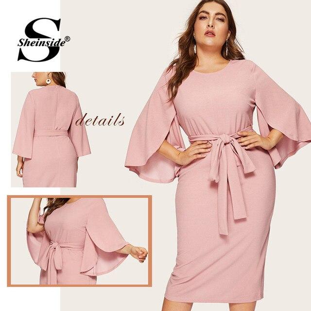 Sheinside Plus Size Split Sleeve Midi Dress Women 2019 Spring Elegant Solid Zip Back Pencil Dress Ladies Belted Trim Dresses 5
