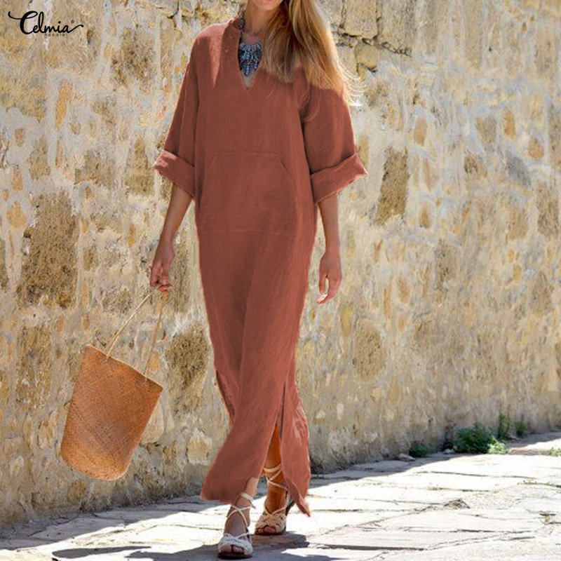 Celmia Women Vintage Maxi Long Dress 2019 Summer Sexy V Neck Long Sleeve Split Casual Loose Linen Vestidos Kaftan Plus Size 5XL