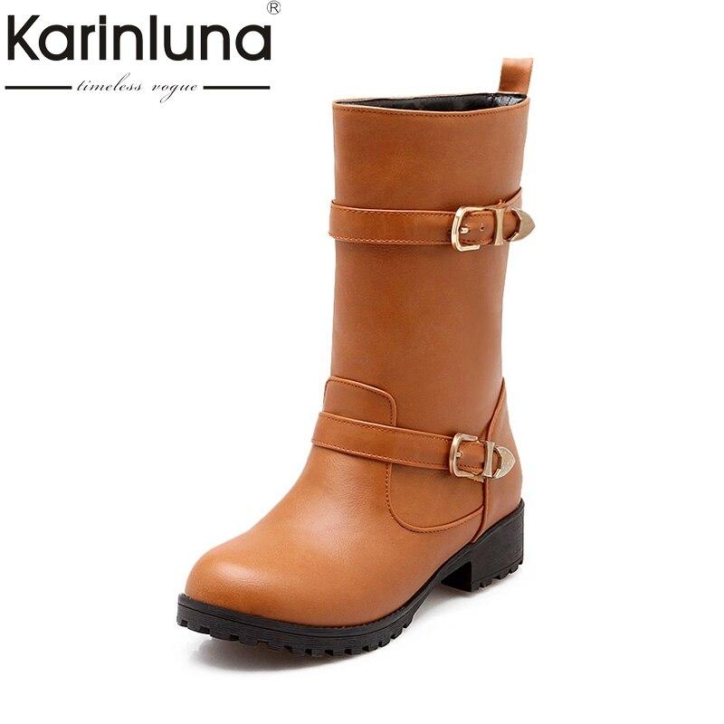 где купить KARINLUNA 2017 Large Size 34-43 Platform Add Fur Women Shoes Fashion Retro Square Heels Buckle Black Western Boots Woman Winter по лучшей цене