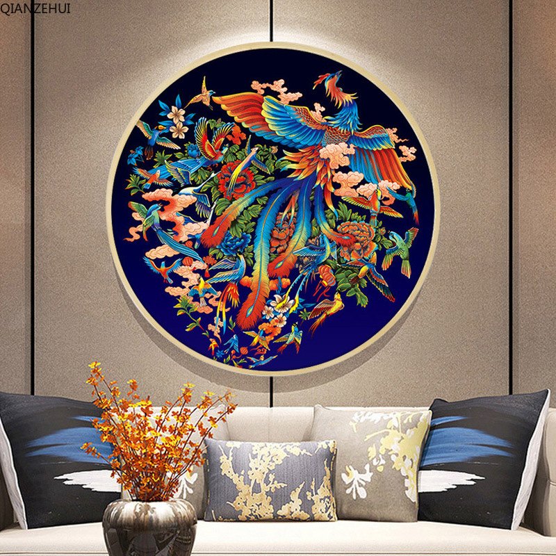 QIANZEHUI Needlework,DIY Peacock Living Room Small Flower  Cross Stitch,Sets For Embroidery Kit Full Embroidery Cross-Stitching