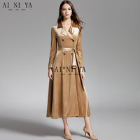 2018 New 100% Polyester Women Autumn Winter Coat Double Breasted Sashes S M L Women Long Coat Closure Collar Gold Velvet Coat