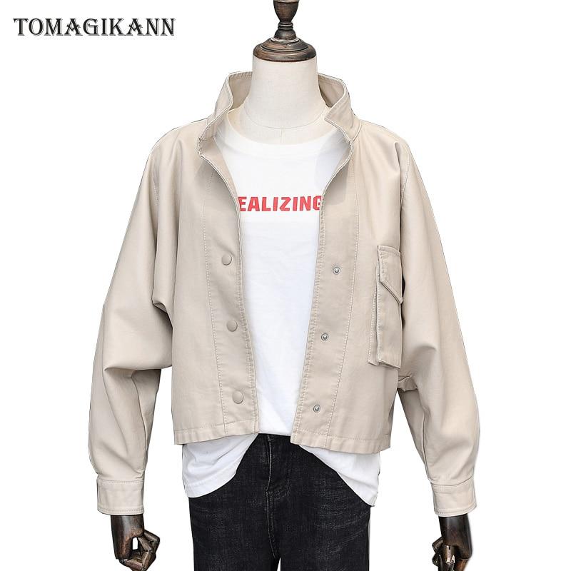 2018 Spring Autumn Women Solid Pocket Cool Motocycle PU Jacket BF Black Stand Collar Batwing Sleeve Loose Feminino Coats Outwear