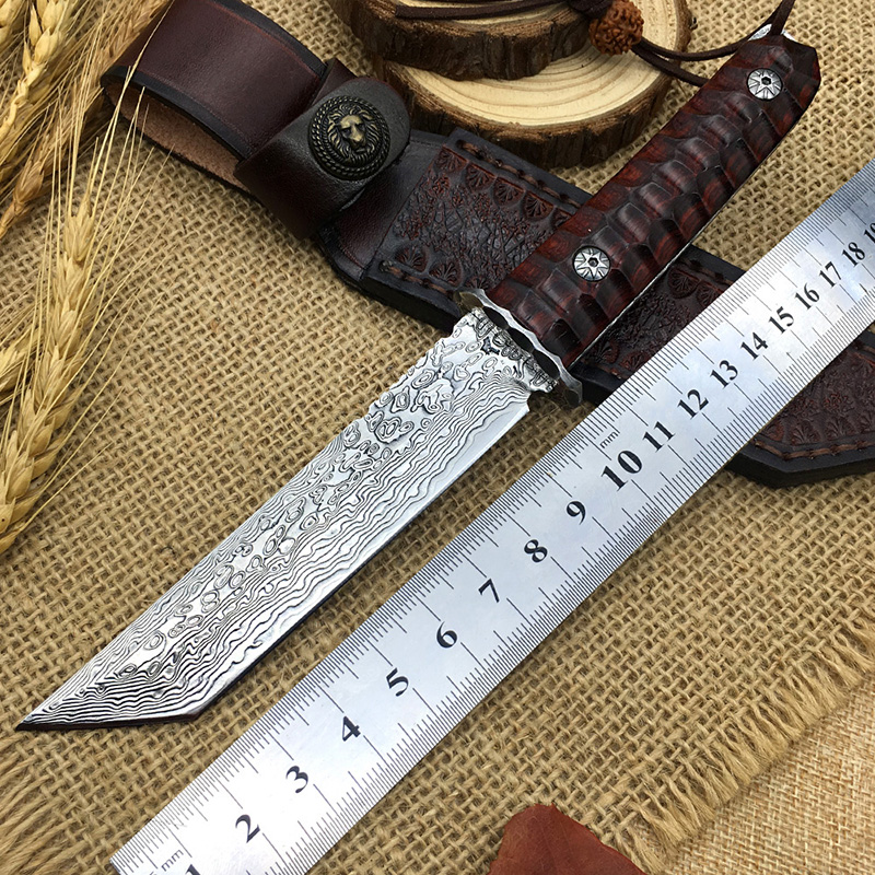 Limited custom Damascus steel outdoor hunting knife real VG10 core fixed knife survival EDC handmade high
