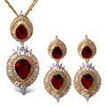 Platinum Plated wedding Jewelry Sets for Women Red Necklace and Earrings CZ Bridal Jewerly Set Flower Pendant