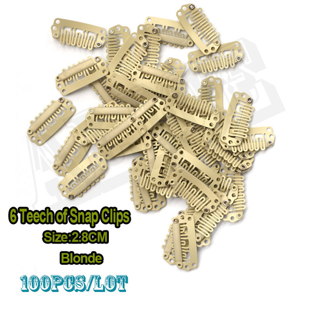 100pcs Small Hair Extension Snap Clips 28mm Blonde U Shape Wig Clips