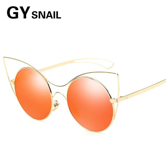 GY ESCARGOT De Luxe lunettes de Soleil Marque Cat Eye Métal Creux Cadre Femmes  Lunettes De 412e935ba170