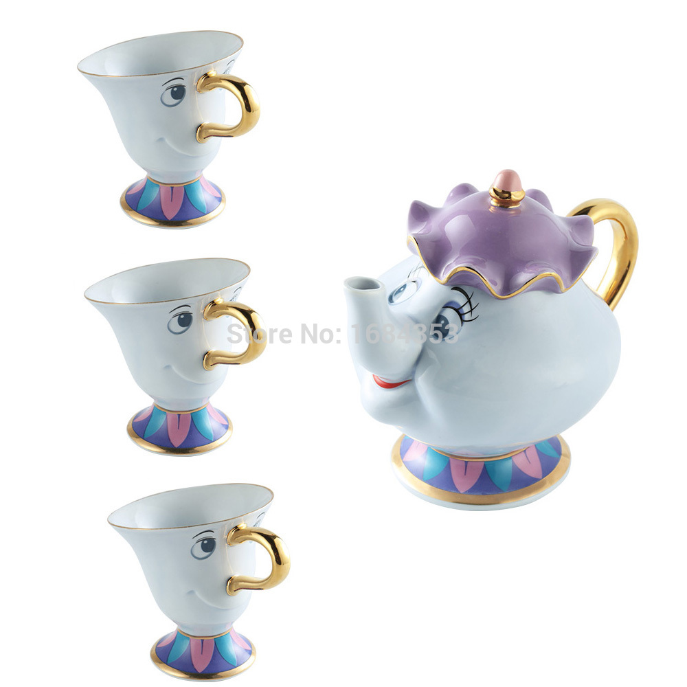 Cartoon Beauty And The Beast Mrs Potts Chip Coffee Tea Set Pot Cup Krus [1 POT + 3 CUPS] Porselen 18K forgylt keramisk gave
