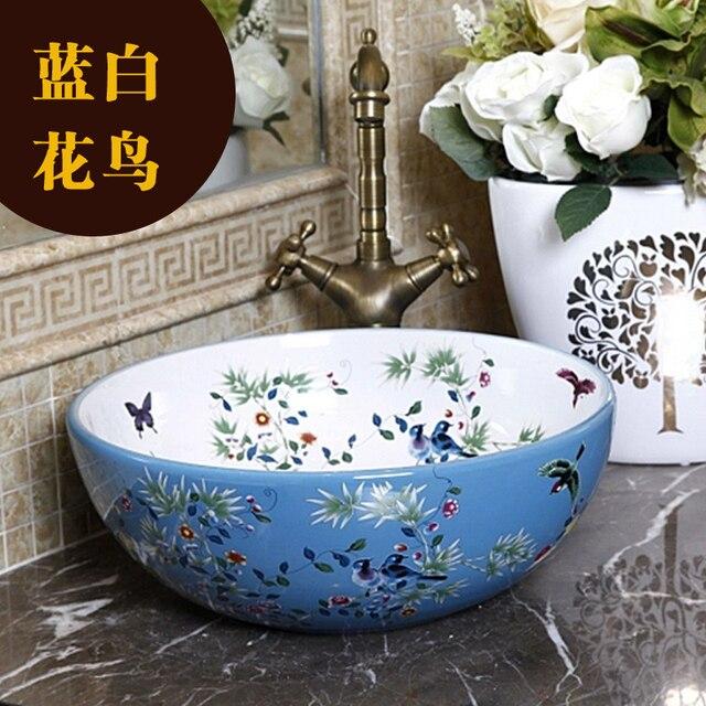 Porcelain China Classic Painting Art Birdsu0026Flowers White Countertop Ceramic  Bathroom Sink Sanitary Ceramic Art Basin